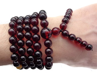 108 Mala Beads, Amber Necklace, Baltic Amber, 108 Prayer Necklace, Japa Mala, Rosary, 108 Buddha Prayer Necklace, Om Necklace, Cherry Amber