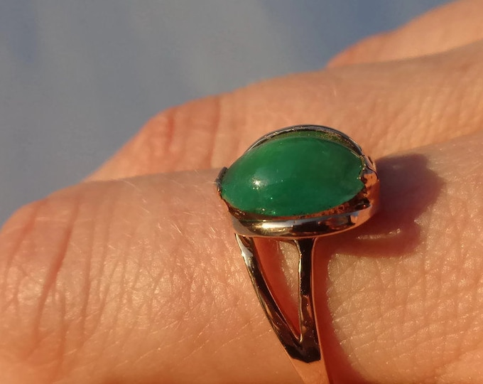 Gift For Her, Gold Emerald Ring 14K, Green Emerald Ring, Natural Green Emerald, Vintage Ring, Emerald Gemstone 1ct, Size 7.25, Mother's Day