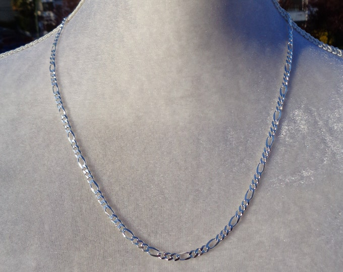 Sterling Silver FIGARO Chain, 925 SOLID Silver Chain, Link Chain, Jewelry Chain, Silver Bracelet, Silver Necklace, Italy Made 925 Silver