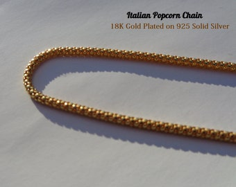 Gold Necklace, Gold Popcorn Chain, High Quality 18K Gold Plating on 925 Silver Long Necklace, Gold Plated Chain, Gold Jewelry, Italian Chain