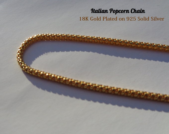 Gold Chain, Gold Popcorn Chain, High Quality 18K Gold Plating on 925 Silver, Gold Necklace, Gold Plated Chain, Gold Jewelry, Italian Chain