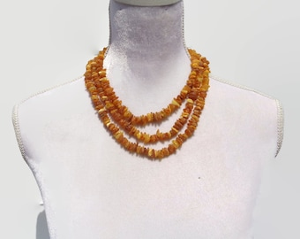 """Baltic Amber Women's Necklace, RAW Amber Adults Necklace, Healing Amber For Pain, Swelling, Headache, Back Pain, Joint Pain, 18"""" to 100"""""""