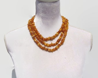 """Baltic Amber Women's Necklace, RAW Amber Adults Necklace, Healing Amber For Pain, Swelling, Headache, Back Pain, Joint Pain, 18"""", 20"""", 22"""""""