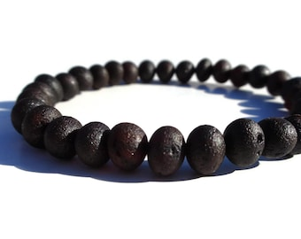 Raw Unpolished Baltic Amber Bracelet, Black Cherry Amber, 6-8 mm Beads, Real Amber for Pain Relief, Joint Pain, Arthritis, Wrist Pain
