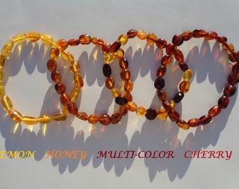 Amber Bracelet, Baltic Amber Bracelet/ Amber Anklet, 100% NATURAL Amber, Real Amber Beads, Hand Polished Amber, Choose Color & Size