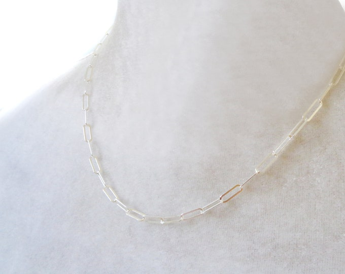 925 Silver Paperclip Necklace, Sterling Silver Paperclip Link Chain, Long Layering Chain Necklace, Rectangle Link Chain, Mothers Day Gift