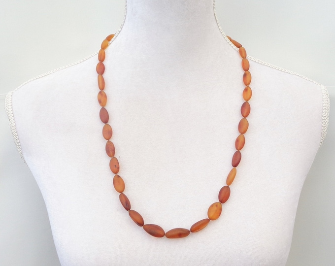 Cognac Amber Necklace,  100% Real Raw Baltic Amber Necklace, Oval Amber Beads, Amber for Immune System, Pain Relief, Headache, Back Pain