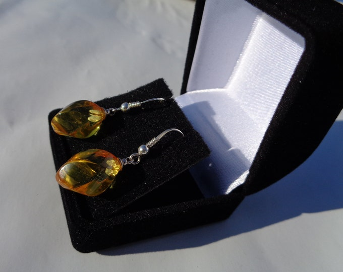 BALTIC AMBER Earrings, Amber Jewelry, 100% NATURAL Amber Stone, Golden Amber, Yellow Amber, 925 Sterling Sliver Earrings, Mothers Day Gift
