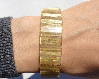 Golden Rutilated Quartz Bracelet, HIGH QUALITY Gold Rutile Quartz, Natural Rutilated Quartz Flat Beads, Venus Hair, 18mm, Power Bracelet