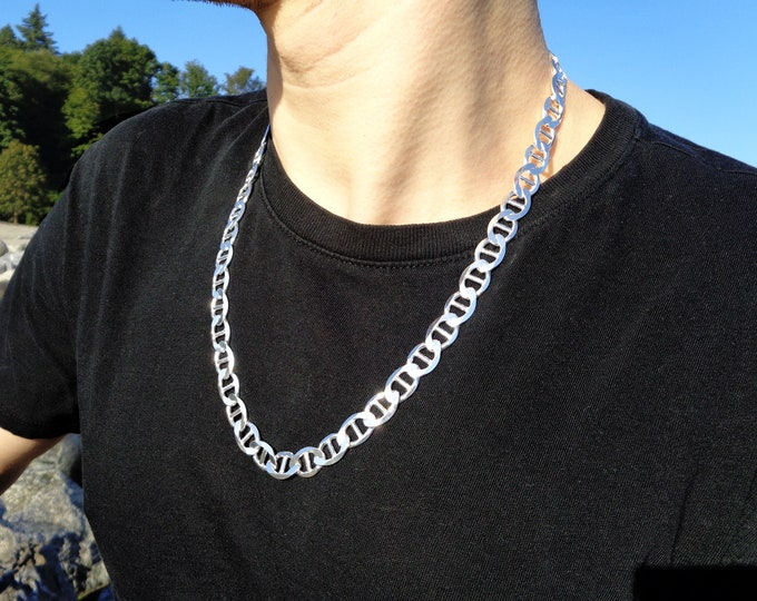 Silver Gucci Chain, Solid 925 Marine Sterling Silver Necklace, Mens Thick Chain, Heavy Chain For Man 3mm-5.8mm
