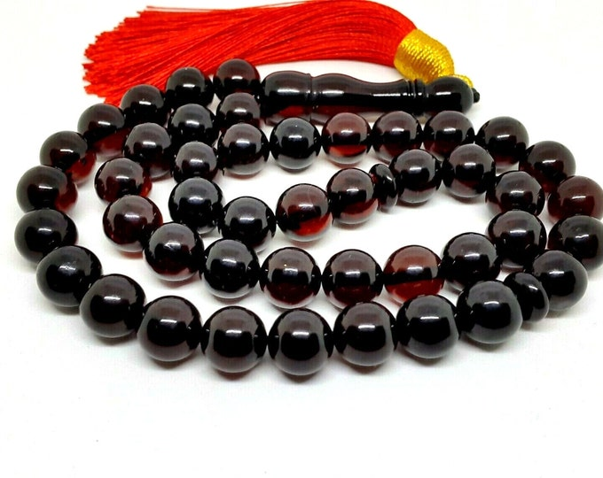 Natural Baltic Amber Prayer Beads, Islamic 45 Bead Rosary with Minaret, Tasbih, Misbaha, Muslim Rosary, Dark Cherry Amber, 32.3 gr