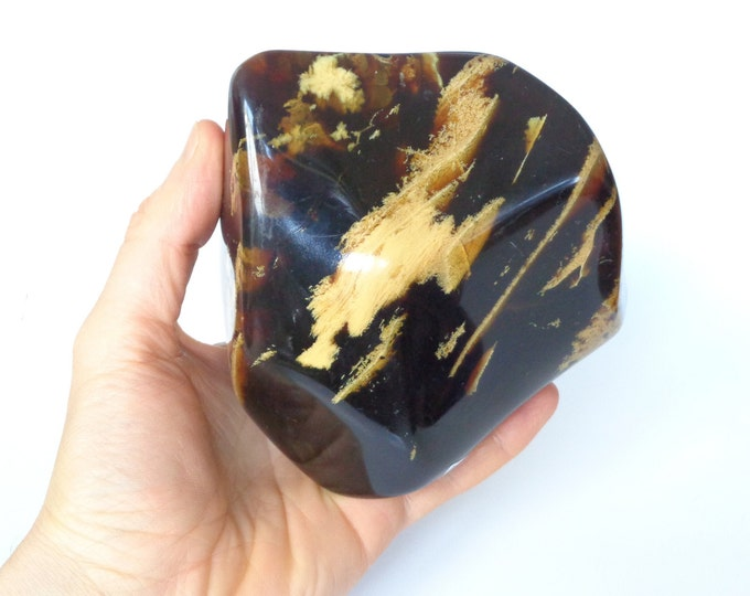 Large Amber Polished Stone, 100% Real Amber, Sumatra Amber, Natural Fossilized Amber Stone, Stunning Display Amber Stone, 575 grams