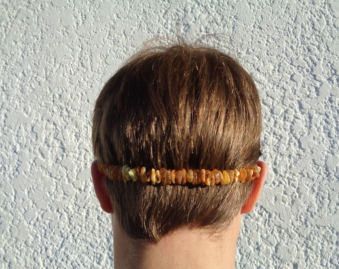 Raw Amber Necklace Adult Migraine Pain Relief, Headache, Rheumatoid Arthritis, Jaw Neck Pain Relief Jewelry, Stretchable Amber Beads Band