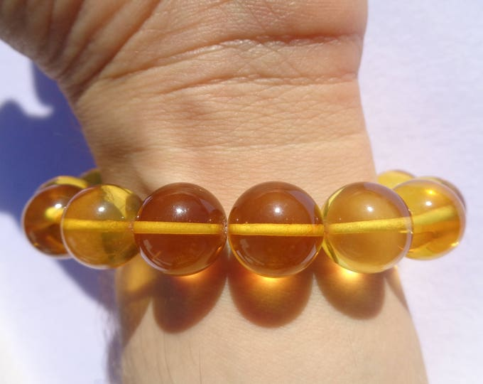 100% NATURAL Highest Quality BALTIC AMBER 13 mm Round Beads Bracelet Sunny Lemon 20 grams