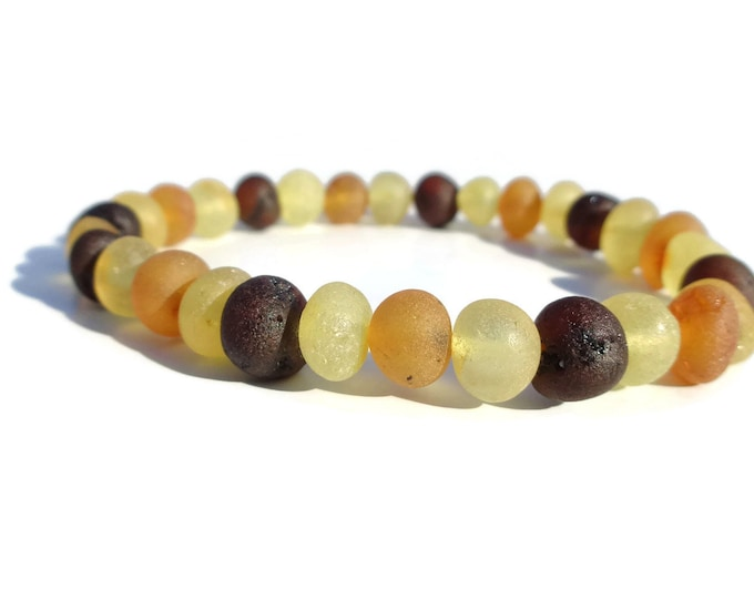 Raw Baltic Amber Bracelet, 8-9mm Amber Beads, Multi-color Amber Bracelet, Amber for Pain Relief, Joint Pain, Rheumatoid Arthritis, Swelling