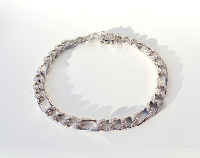 Sterling Silver FIGARO Bracelet Pave CZ, 925 SOLID Silver Bracelet, Link Bracelet, Silver Bracelet, Groomsmen Gift, Italy Made 925 Silver