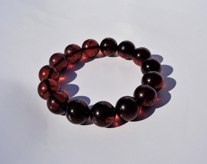 100% NATURAL Highest Quality BALTIC AMBER Bracelet, Amber Bracelet, Amber Round Beads Bracelet, Cherry Amber, 13 mm, Real Amber Beads, 18.8g