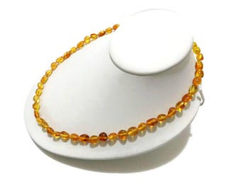 BALTIC AMBER Necklace For Adults, Real Amber Necklace, Polished Amber, Lemon Amber Beads, Handmade 100% NATURAL Amber Jewelry, Unique Gift