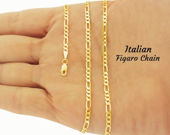 Gold Figaro Chain, ITALIAN Figaro Chain, 18K Plated Gold Chain, Solid 925 Silver Chain, Gold Jewelry, Italian Chain