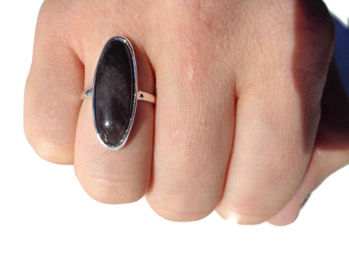 Sterling Silver Obsidian Ring, Natural Obsidian, Black Obsidian, Obsidian Pendant, Obsidian Gemstone, 925, Protection Stone Mother's Day