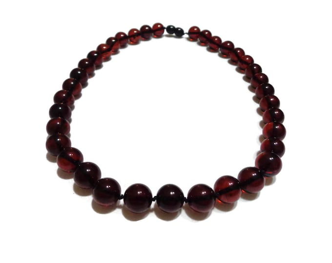 100% NATURAL Highest Quality BALTIC AMBER 11 mm Round Beads Necklace Cherry Amber 24.3 grams, video inside