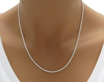 Sterling Silver Necklace, Solid 925 Silver Chain Necklace, Gold Chain, Italy 925 Silver Chain Jewelry, Diamond Cut ROPE Chain, 1.2mm - 3.2mm