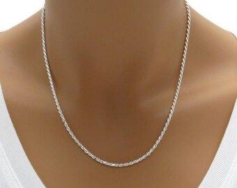 Sterling Silver ROPE Necklace, Solid 925 Silver Chain, Italy 925 Silver Chain Jewelry, Diamond Cut ROPE Chain 1.2mm - 3.2mm, Christmas gift
