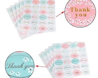 Thank you Stickers, Thank you Seals, 24 Stickers per Sheet, Adhesive Seal, Labels, Envelope Seals, DIY, Gift Stickers, Packaging Stickers