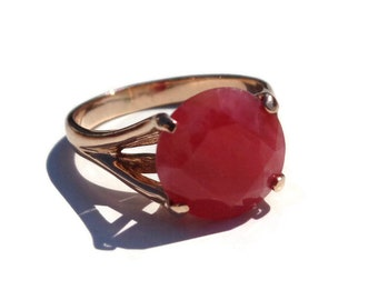 Rhodonite Gold Ring, Fancy 14K Rose Gold Ring, Faceted Gemstone, Round Cut Natural Rhodonite, Gold Ring, Sz 7, Vintage Russian Ring