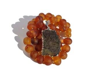 Moldavite Crystal Pendant, Moldavite Necklace, Tektite Pendant,  Genuine Czech Moldavite, 925 Silver, Raw Moldavite Meteorite 10.2gr