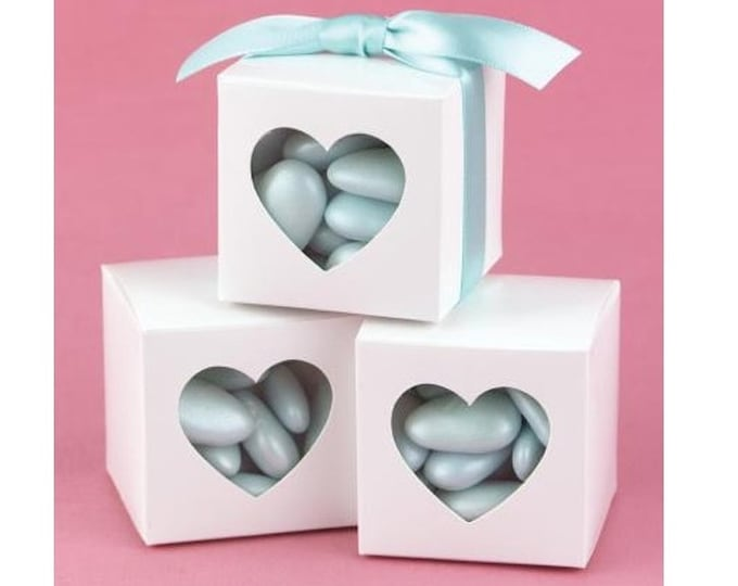 Heart Boxes, Wedding Favor Boxes, Party Favor Boxes, 5x5x5cm, Candy Box, Birthday Gift Box, Mini Cupcake Box, Kraft Box, Box w Heart Window