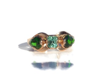 Gold Ring 14K, Russian Beryl, Natural Green Diopside, Russian Jewelry, Rose Gold Ring, Size7.5, Mother's Day Gift, Gift for Mother