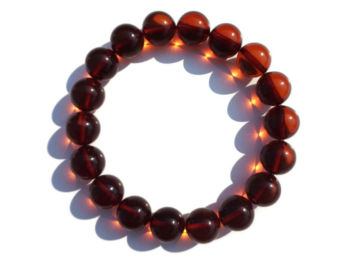 100% NATURAL Highest Quality BALTIC AMBER Bracelet, Amber Bracelet, Amber Round Beads Bracelet, Cognac Amber, 11 mm, Real Amber Beads 12 gr