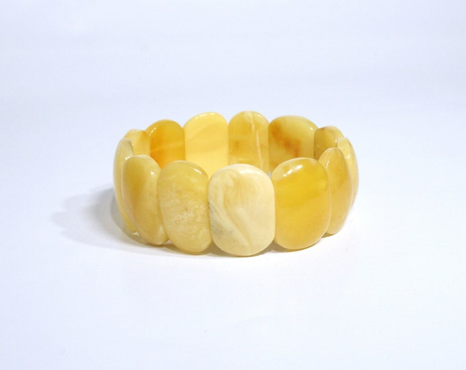 Real BALTIC AMBER Bracelet, Royal White Amber Bracelet, Egg Yolk Amber, Flat Amber Beads Bracelet, 100% NATURAL, 25.3 grams