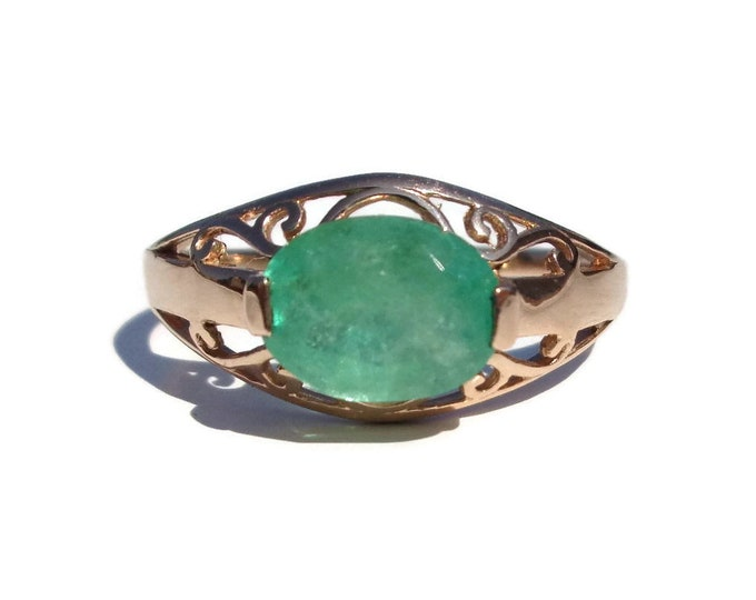 Gold Emerald Ring 14K, Russian Emerald, Natural Green Emerald, Emerald Jewelry, Emerald Gemstone Ring, Gift For Her, Size7.5, 1.15ct