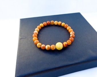 Amber Bracelet, Highest Quality BALTIC AMBER Bracelet, 100% NATURAL Amber, Butterscotch Amber, Royal Amber, Round Amber Beads Bracelet