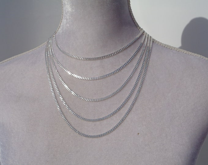 Solid Silver Chain Necklace, Curb Chain 925 Sterling Silver, Minimalist Jewelry, Curb Link Chain, Link Chain Necklace, Made in Italy Gift