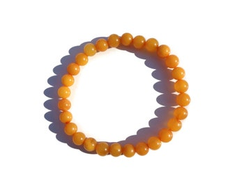 Amber Beads Bracelet, Highest Quality BALTIC AMBER Bracelet, 100% NATURAL Amber, 5.5mm-6.5mm Round Beads Bracelet, Butterscotch Amber