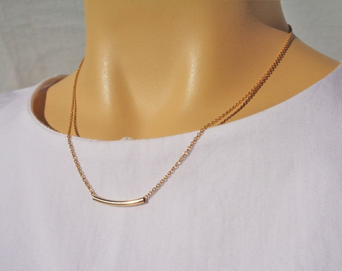 Gold Tube Necklace, High Quality 14K Gold Filled Necklace, Dainty Gold Necklace, Minimalist Gold Jewelry, Italian Chain