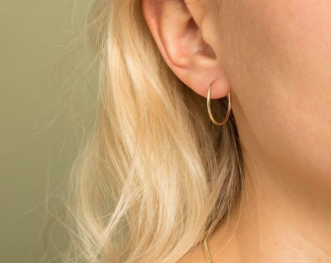 SOLID GOLD Hoop Earrings, Real Gold Earrings, Hypo Allergenic Earrings, Lightweight Endless Hoops, Minimalist Jewelry, Gift for Her