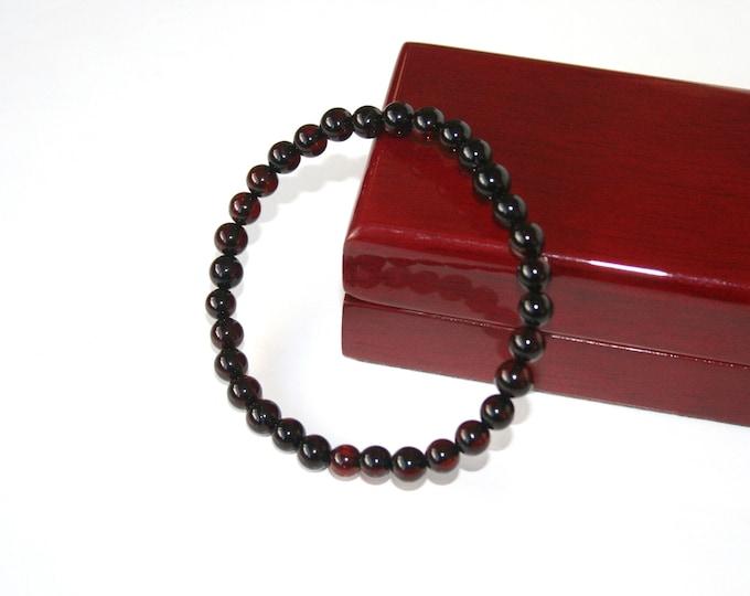 Amber Bracelet, Highest Quality BALTIC AMBER Bracelet, 100% NATURAL Amber, Dark Cherry Amber, 7 mm Round Beads Bracelet, Unisex Bracelet