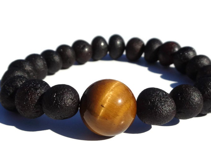 Amber Bracelet w Tigers Eye Bead, Mens Bracelet, Baltic Amber Bracelet, Tigers Eye Bead, Unpolished Amber for Pain Relief