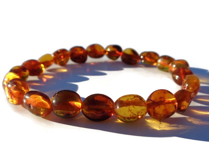 Amber Bracelet, Baltic Amber Bracelet, 100% NATURAL Amber, Real Amber Beads, Polished Honey Amber, Summer Jewelry, Choose Size
