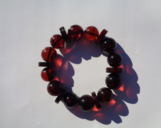 Cherry Amber Bracelet 100% NATURAL, BALTIC AMBER Bracelet, Amber Round and Disc Beads Bracelet 13mm, Real Amber Beads 21gr Video Inside