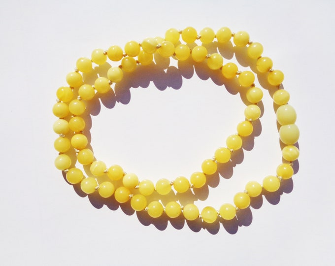 BALTIC AMBER Necklace, Real Amber Beads, 100% NATURAL Handmade Royal White Butter Amber Necklace, Baltic Amber Jewelry, Gift for Her 8.3 gr