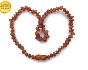 Amber Teething Necklace,RAW Baltic Amber Baby Necklace, Cognac Amber, Healing Amber for Teething Pain, Reduce Pain, Swelling, SAFETY Knotted