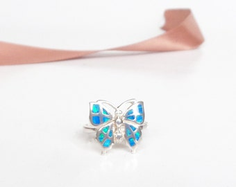 Sterling Silver Ring, Opal Ring, Blue Opal Butterfly Ring, Opal Jewelry, Statement Ring, Butterfly Jewelry, Gift for Her