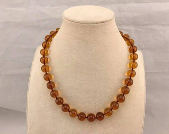 100% NATURAL Real BALTIC AMBER Stone Round 12 mm Beads Necklace Cognac 30.2 grams Handmade Not Pressed Not Melted