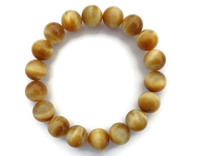 Natural Golden Tigers Eye Bracelet, Tigers Eye Gemstone, Tigers Eye Beads, Tigers Eye Power Crystal, Solar Plexus Chakra, 10mm, Money Stone
