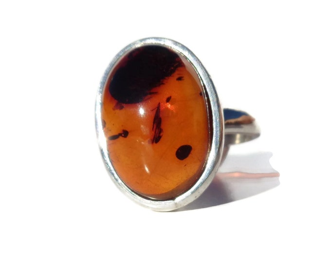 BALTIC AMBER Silver Ring, 100% NATURAL Amber, Adjustable 925 Silver Amber Ring, Cognac Amber, Femme Ring, Women's Ring 925 Sterling Sliver